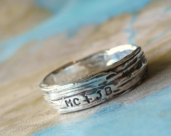 Rustic Bark Ring, Personalized Silver Jewelry Lover's Ring Sterling Silver Tree Bark Ring, Custom Rustic Ring Size 5 6 7 8 9 10 11 12 13 14