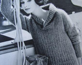 Knit Sweater Pattern - 1960's Vintage Pattern PDF, Women's Pullover Sweater 2817