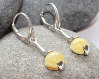 Long Drop White Amber Amber Earrings / Baltic Amber Earrings In Sterling Silver Earrings / Natural Baltic Amber Earrings Drop Earrings