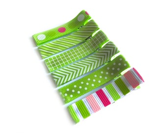 6 Green and Pink Hair Clips Green Hair Clips Basic Lined Hair Clips Baby Girl Hair Clips Polka Dot Stripe Chevron Baby Hair Clips Toddler