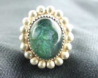 Chrysocolla Agate Stone Sterling Silver Ring 37