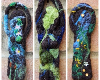 Custom Nature Goddess - Mother Earth Goddess - Wiccan Spirit Doll - Needle Felted Art Doll - Green Wicca Altar Hedge Witch Gift - Pagan Art