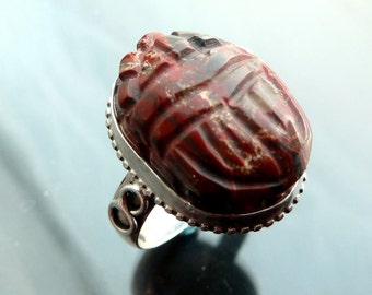 Scarab Gemstone Beetle Ring Custom made in your size sterling silver 7 8 9 OOAK jewelry