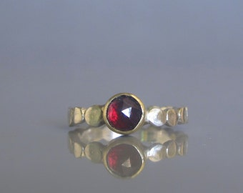 Garnet ring, Garnet stacking ring, Pebble ring, Gold and silver ring