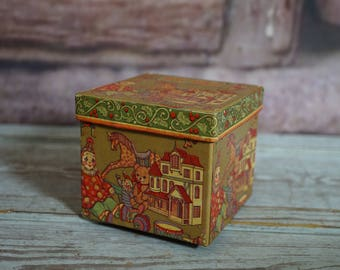 Vintage Box with Toy Shop Paper