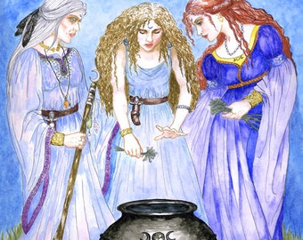 Maiden Mother Crone Triple Goddess Art Print Three Priestesses Pagan Wicca Fantasy Altar Decor New Moon Ritual Witches Cauldron Metaphysical