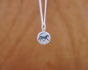 """Silhouette Horse Pendant Sterling Silver with 18"""" Chain,Equestrian Jewelry,Horse Pendant"""