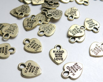 20 Gold Heart charms engraved Hand Made with Love 16x12mm CC1975-80