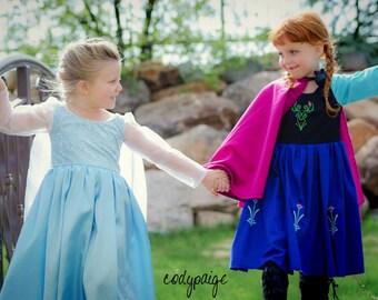 Frozen Inspired Ice Queen Elsa and Snow Princess Anna Costume Gowns! Scandinavian, dress-up, pretend play, ballgown, travel dress, halloween