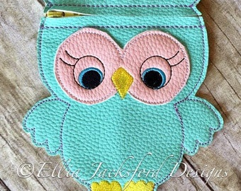 Owl ITH Pencil - Bag/Pouch - 3 Sizes -  Completely In The Hoop - DIGITAL Embroidery design