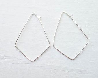 Large Diamond Shaped Hoops Sterling Silver Geometric Hoop Earrings (FHS6431)