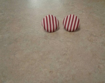 Red & White Stripe Cloth Button Earrings
