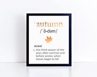 AUTUMN Seasonal Art Print - Foil Prints, Decor & Gift Prints,  8x10