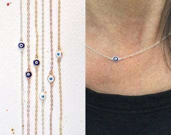 Evil eye  necklace - protection necklace - blue evil eye - white-aqua evil eye - silver eye - gold eye - rose gold evil eye necklace