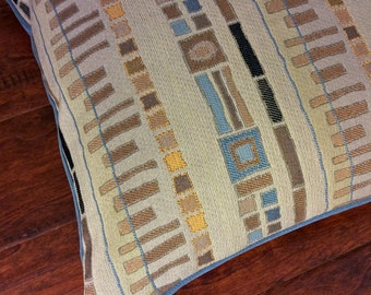 Decorative throw pillow | Neutral colors | Squares | Rectangles | Pillow cover | Teal blue | Yellow | Brown | Black | 16x16 - Ready to ship