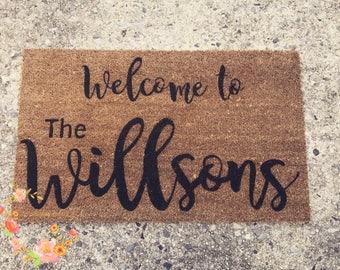 Custom Family Door Mat, Wedding gift, Housewarming gift, Home Decor, Welcome Door Mat, Personalized