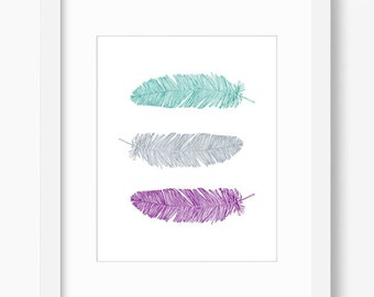 feather print, teal purple gray decor, feather wall art, feather artwork, office decor, printable art, feather wall decor, office wall art