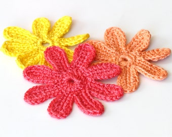 Crocheted Flower Tutorial, PDF Crocheted Flowers Pattern, DIY Flower