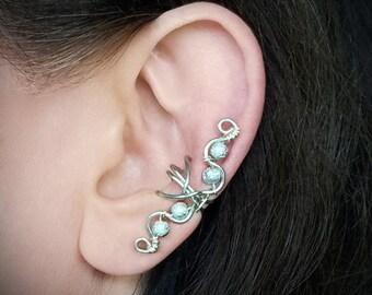 Silver Ear Cuff Glitter Silver Beads Swirly Ear Wrap