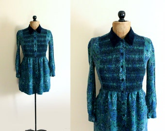vintage dress 80's velvet collar emerald green blue floral print smocked women's clothing size xs s extra small