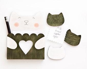 New mom gift, Cat Fridge Magnets, Green Housewarming Gift, Green wooden decor, Kitchen Organization, Mother Day Gift, Cat Magnet