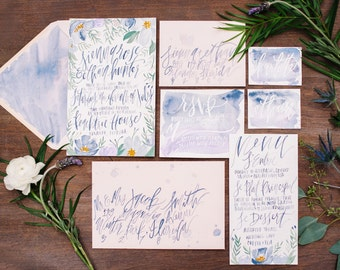 French Blue & Lavender Florals - Painted Calligraphy - Hand Lettering - Watercolor Wedding Invitation Suite  - Color Customizable