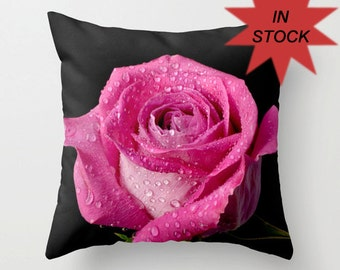 Rose Pillow Cover, Bright Pink Flower Throw Cushion Case, Romantic Floral Bedroom Decor, Christmas Gift for Girls, Valentine's Day Gift