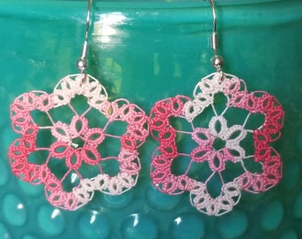 Tatted flower earrings