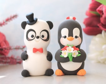 Unique wedding cake toppers Panda, Penguin - funny bride and groom figurines wedding gift cute personalized elegant black white red pink
