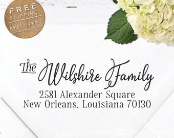 Custom Stamp, Self Inking Return Address Stamp, Wedding stamp, Calligraphy Stamp, DIY Wedding Stamp, Custom Address Stamp  - Wilshire