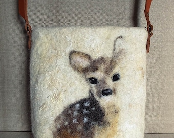 Christmas gift. Fawn. Unique Hand Made OOAK Felted Wool Shoulder Crossbody Messenger Bag Boho Hobo