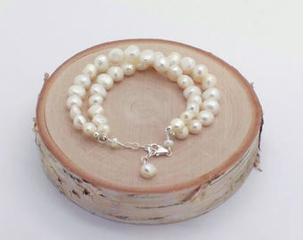 Freshwater Pearl Bracelet, Double Strand, Beach Wedding Bracelet, Silver, Gold or Rose Gold Filled