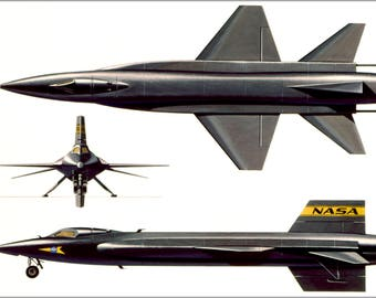 Poster, Many Sizes Available; North American X-15 Three Side View 1961