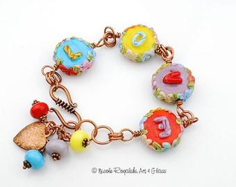 Love Beaded Bracelet - Artisan Lampwork Glass, Turquoise, Yellow, Orange, Heart, Copper