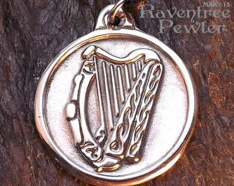 Celtic Harp - Pewter Pendant - Jewelry, A symbol of Bard, Bardic, Irish, Scottish, Merriment and the Love of Music,