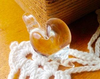 Glass Heart Pendant-Clear Heart