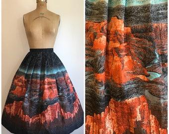 Vintage 1950s Scenic Grand Canyon Novelty Print  Border Skirt 50s Cotton
