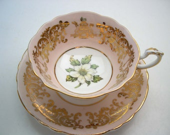 Pink Paragon Tea cup And Saucer, Gold filligree on pink teacup and saucer, Coat of Arms of British Columbia.