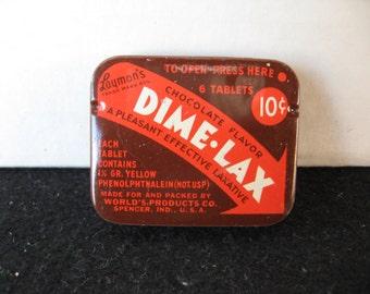 Vintage-Laymons-Dime-Lax-Laxative-Tablets-Medicine-Tin