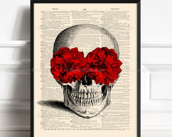 Floral Skull Decor, Real Skull Decor, Wife Poster Gift, His 40th Birthday, Red Rose Decor, Funny Dorm Poster, Mom Gift Poster, Horror 027