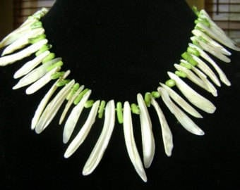 Seaweed Mother of Pearl and Coral Fringe Necklace in Lime Green and White