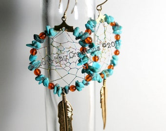 Turquoise and Amber Dream Catcher Earrings on One Inch  Gold Plated Hoops Each is  Custom Made to Order