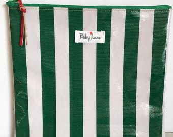 Square Oilcloth pouch / Oilcloth pouch / Makeup bag / Craft pouch / Oilcloth bag / Birthday gift / Green stripe