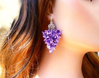 Purple earrings long Boho earrings Floral earrings Geometric Earrings Big earrings Gift for her Tassel earrings long Unique earrings