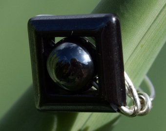 Silver filled Ring, Wire Wrapped Ring, Black Hemetite, Jewelry, Wire Ring, Statement Ring