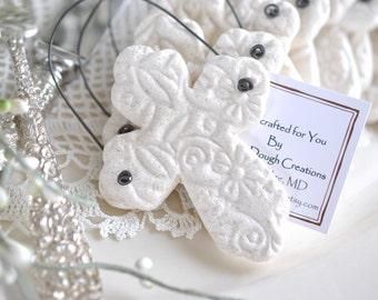Baptism Gift Imprinted Cross Favors Set of 6 Salt Dough Easter Napkin Ring Ornaments
