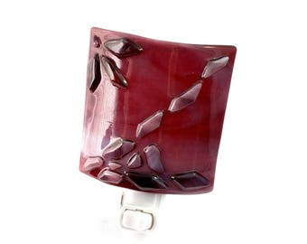 Night Light, Wine Red Decorative Stained Glass, Plug In Accent Lighting