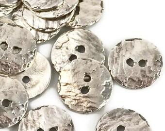 16mm Button Round - Silver - Mykonos Beads Cornflake Button