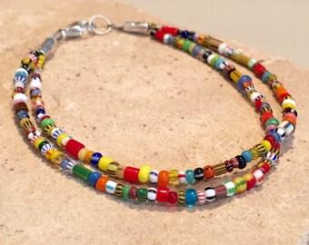 Multicolored double strand seed bead bracelet, African seed bead bracelet, colorful bracelet, dainty bracelet, boho bracelet, gift for her