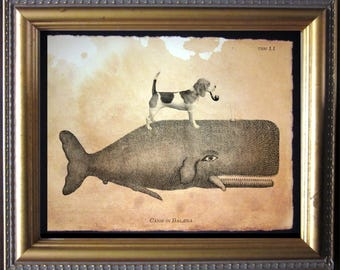 Beagle Dog Riding Whale - Vintage Collage Art Print on Tea Stained Paper dog art - dog gifts -- father's day gift- graduation gift